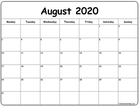 august  monday calendar monday  sunday