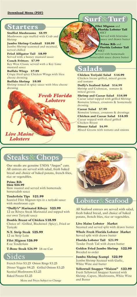 lobster house menu duffy s key west steak lobster house dinner menu