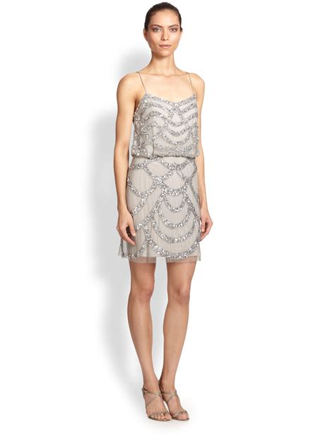 blouson beaded dress aidan mattox sequined blouson dress in silver lyst