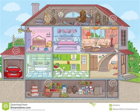 Binnen het huis vector illustratie. Illustratie bestaande