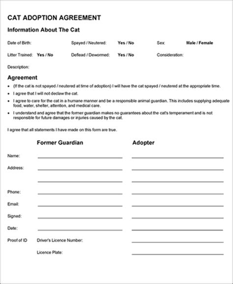 printable animal adoption forms cat adoption form related keywords cat adoption form