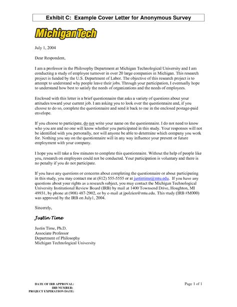 Cover Letter For Questionnaire Surveys by Cover Letter
