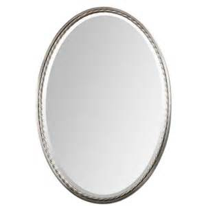 Oval Bathroom Mirrors Home Depot Global Direct 32 In X 22 In Nickel Oval Framed Mirror