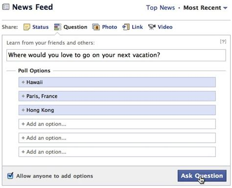 facebook friends questions images quick polling and recommendations in new questions product