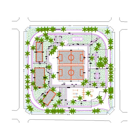 free kad layout public park design dwg models cad blocks free