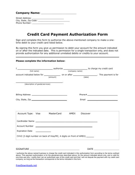 Credit Card Authorization Template Pdf One 1 Time Credit Card Authorization Payment Form Pdf Rtf Word Freedownloads Net