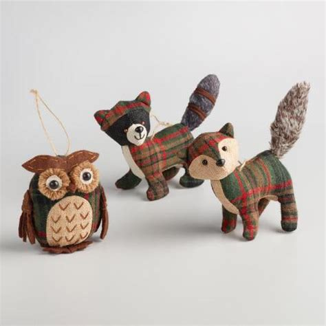 fabric plaid woodland animal ornaments set of 3 world market