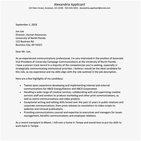 writing a cover letter for an academic position cover letter exles for students in academic