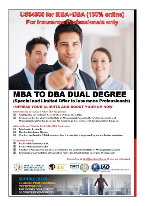Mba And Ms Dual Degrees by Mba Dba Dual Degree Program For Insurance Professional