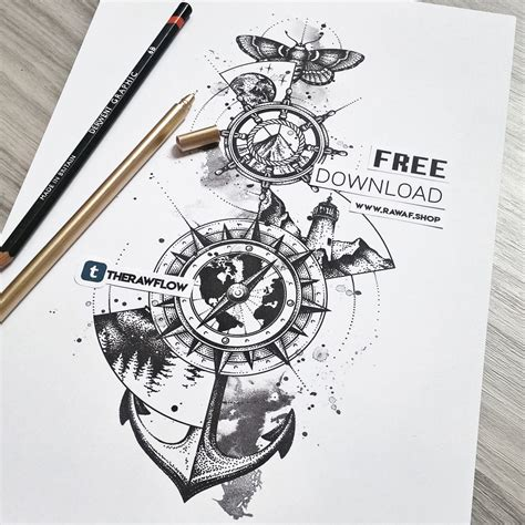 pdf tattoo designs dotwork compass anchor lighthouse design