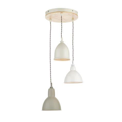 Dar Bly0343 Blyton 3 Light Multi Coloured Ceiling Pendant Lights Uk