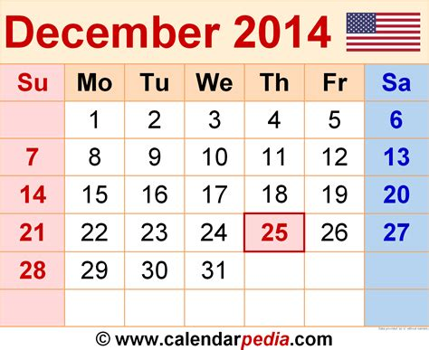 Calendar Of December 2014 December 2014 Calendars For Word Excel Pdf