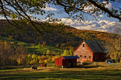 Barns In Maine Sunset At Maple Grove Farm In E Barnard Vermont New