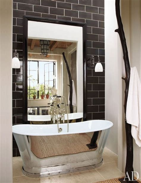 architectural digest bathrooms black subway tiles contemporary bathroom architectural