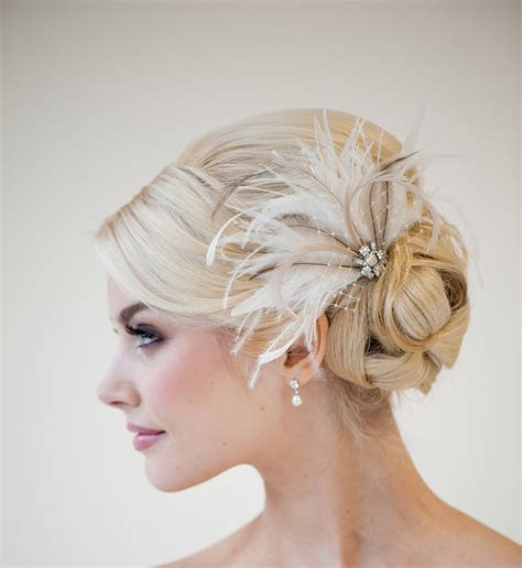 Wedding Hair With Fascinator by Bridal Feather Fascinator Wedding Feather Headpiece Bridal