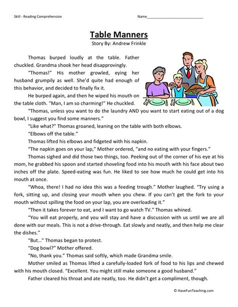 Comprehension Worksheets by Reading Comprehension Worksheet Table Manners