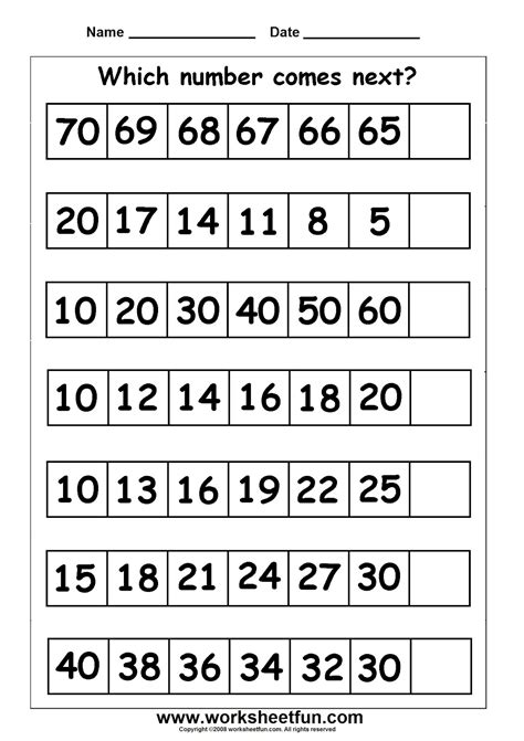 number pattern year 2 grade 6 math worksheets patterning patterns function