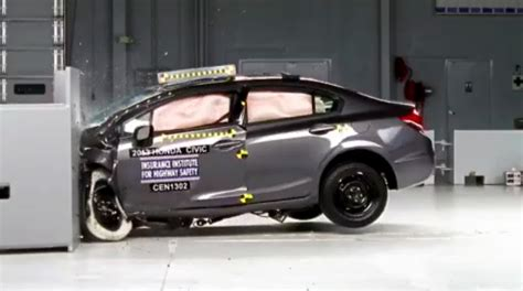 car crash test honda civic dominates iihs small car crash tests photos