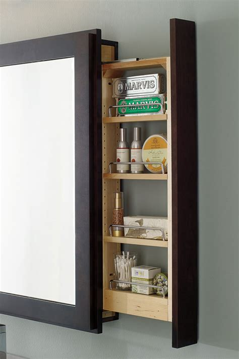 Family Medicine Shelf by Bath Mirror With Pullout Decora Cabinetry