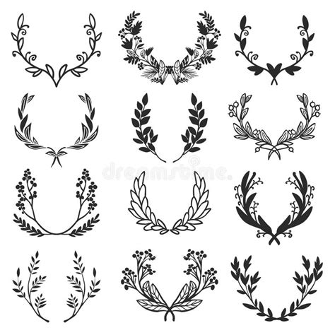 photographic design elements vector vintage set of hand drawn rustic laurels floral vector