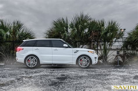 land rover white black rims range rover sport savini wheels