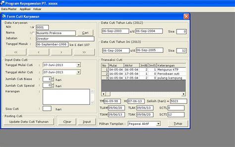 membuat database foxpro 9 source code aplikasi cuti pegawai karyawan imajinasiku
