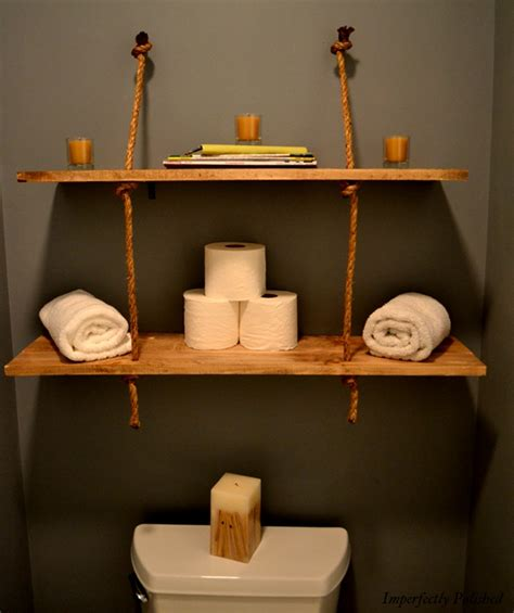 wooden bathroom shelf rustic rope shelves imperfectly polished the csi project
