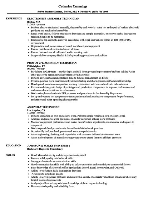 Assembly Resume by Assembly Technician Resume Sles Velvet