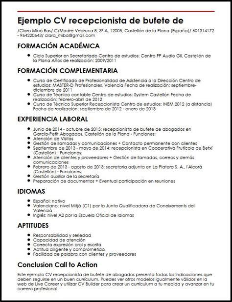 Modelo Curriculum Abogado En Ingles ejemplo cv recepcionista de bufete de abogados micvideal