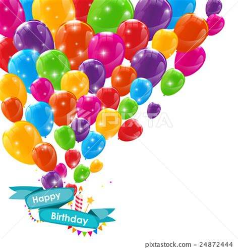 birthday card balloons template happy birthday card template with balloons ribbon stock