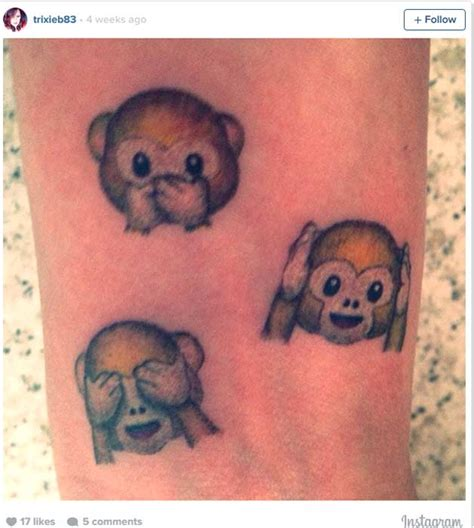 tattoo emoji smiley and thumbs up at these emoji tattoos