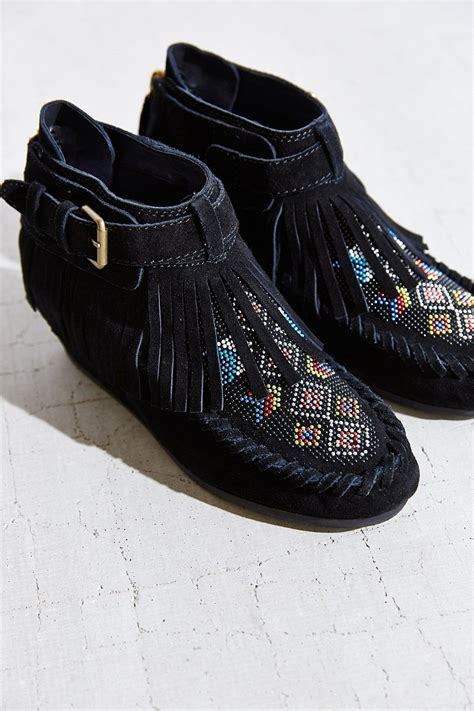 beaded moccasin boots ash serpico beaded moccasin boot in black lyst