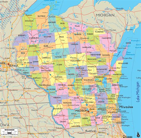 map of showing counties detailed political map of wisconsin ezilon maps