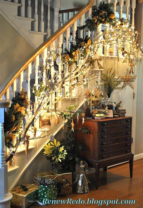 christmas lights for stair banisters 40 festive christmas banister decorations ideas all