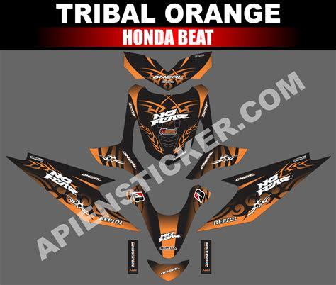 striping motor beat tribal orange apien sticker