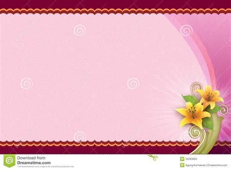 Landscape Greeting Card Template by Pink Background With Flower For Blank Card Royalty Free