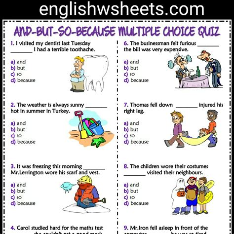 and so but because worksheets and but so because esl printable choice quiz for conjunctions andbutbecause esl