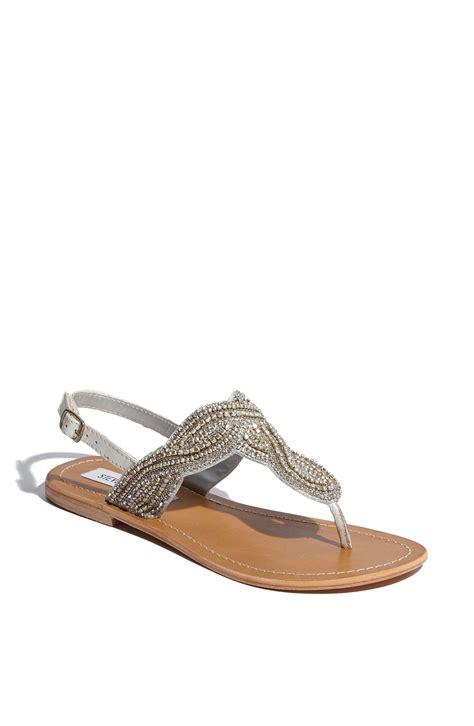 steve madden sandal steve madden shiekk rhinestone twist flat sandals in gray