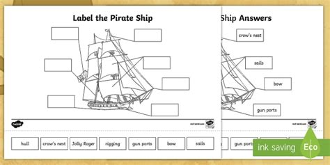 parts of a jolly boat label the pirate ship worksheet activity sheet pirates