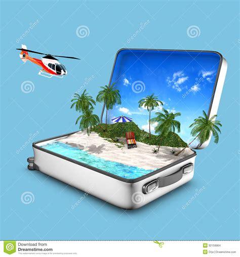 Bella Chaise Lounge Valigia Aperta Che Contiene Una Spiaggia Di Paradiso
