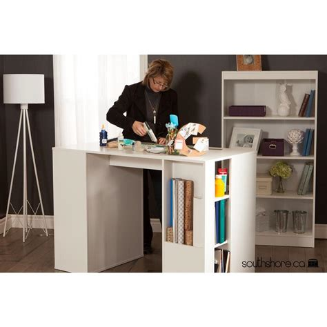 counter height craft table with storage south shore crea laminated particleboard counter height