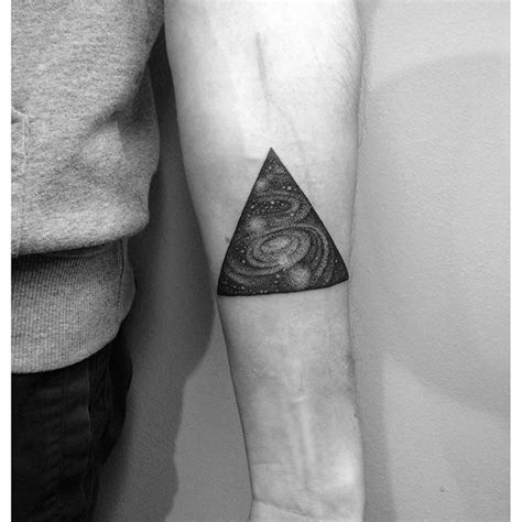 black and grey galaxy tattoo 16 unique triangle tattoos on forearm