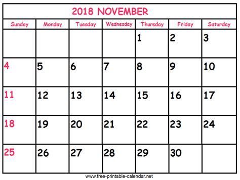 2018 november calendars to print carbon materialwitness co