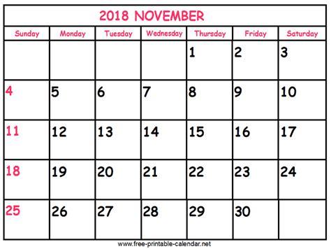 printable calendar november 2018 print calendar 2018 november
