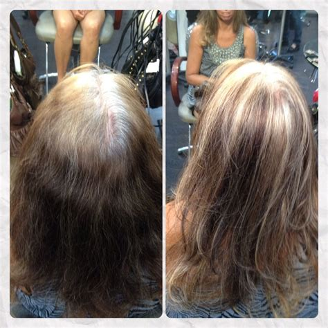 coloring and blending gray roots too young to be so grey blended for a low maintenance