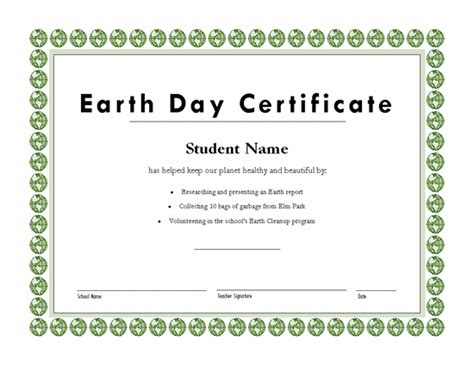 templates certificates earth day certificate academic