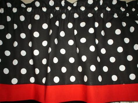 red mickey mouse curtains black white polka dot red trim mickey minnie by