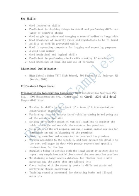 Construction Inspector Cover Letter by Construction Inspector Resume