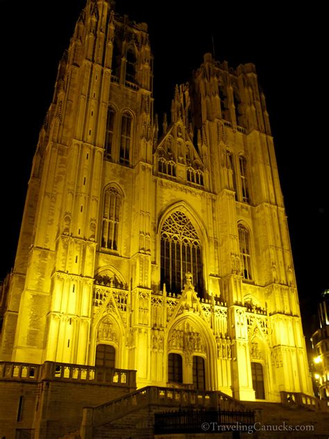 themes of the story cathedral photo of the week illumindated cathedral in brussels