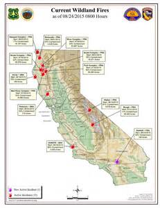 map of california fires currently burning cal monday morning august 24 2015 report on